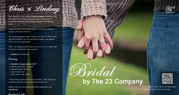 Bridal: A One Page Website for Brides to Be